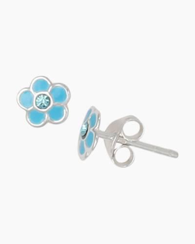Blue Enamel Flower Stud Earrings