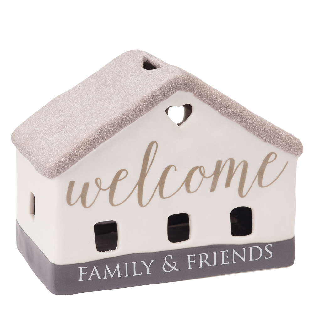 Pavillion Gift Co. Welcome Family and Friends House Tea Light Candle Holder