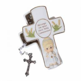 Precious Moments Girl's Cross with Rosary