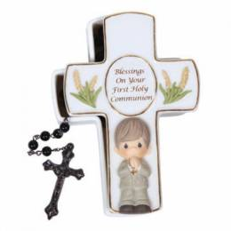 Precious Moments Boy's Cross with Rosary