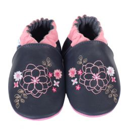 Robeez Floral Embroidery Soft Soles Infant Shoes