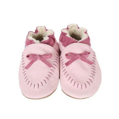 Cozy Pink Moccasin Soft Soles Infant Shoes