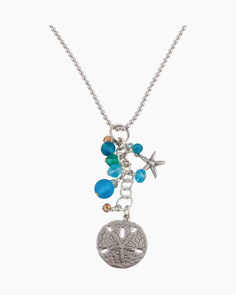 Sadie Greens Large Sand Dollar and Sea Glass Charm Necklace
