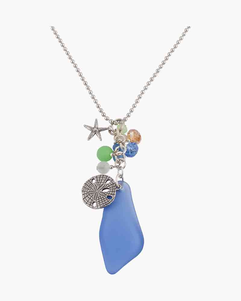 Sadie Greens Small Sand Dollar and Sea Glass Charm Necklace