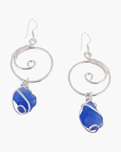 Wire-Wrapped Sea Glass Earrings in Cobalt