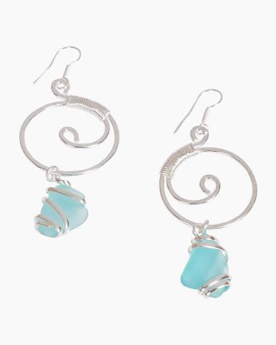 Wire-Wrapped Sea Glass Earrings in Atlantic Blue