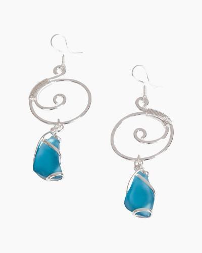 Wire-Wrapped Sea Glass Earrings in Light Aqua
