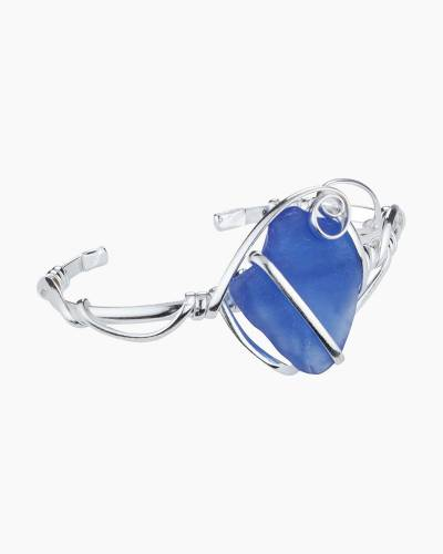 Wire-Wrapped Sea Glass Bangle in Cobalt