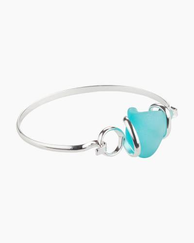 Sea Glass Hook Bracelet in Light Aqua