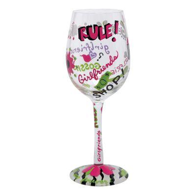 Girlfriends Rule Wine Glass