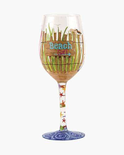 Beach Girl Wine Glass