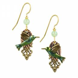 Silver Forest Green Hummingbird Drop Earrings