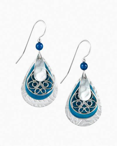 Blue Filigree Teardrop Earrings