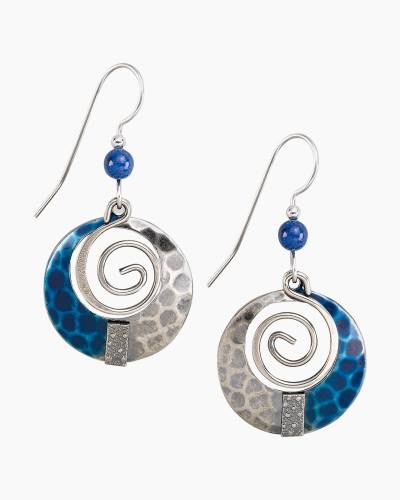 Blue and SIlver Spiral Earrings