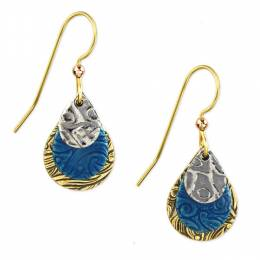 Silver Forest Tri-Tone Blue Teardrop Earrings
