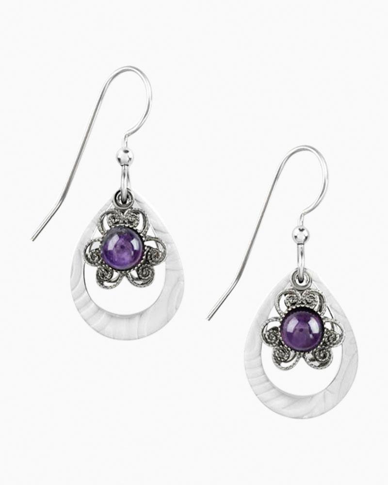 silver forest purple flower teardrop earrings the paper