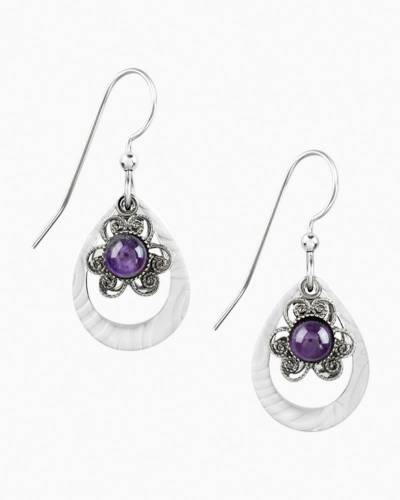 Purple Flower Teardrop Earrings