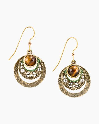 Tiger's Eye Circle Earrings