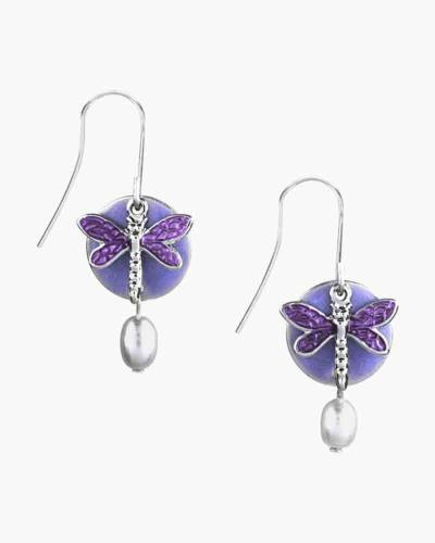 Purple Dragonfly Earrings
