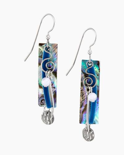 Silver Coil and Shell Rectangle Earrings