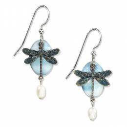 Silver Forest Turquoise Dragonfly Earrings