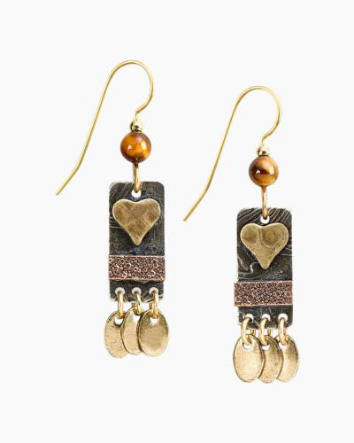 Weathered Gold Heart Earrngs