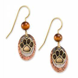 Silver Forest Paw Print Drop Earrings