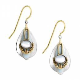 Silver Forest Blue Stone Layered Teardrop Earrings