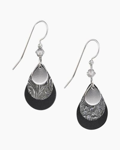 Black and Silver Layered Teardrop Earrings