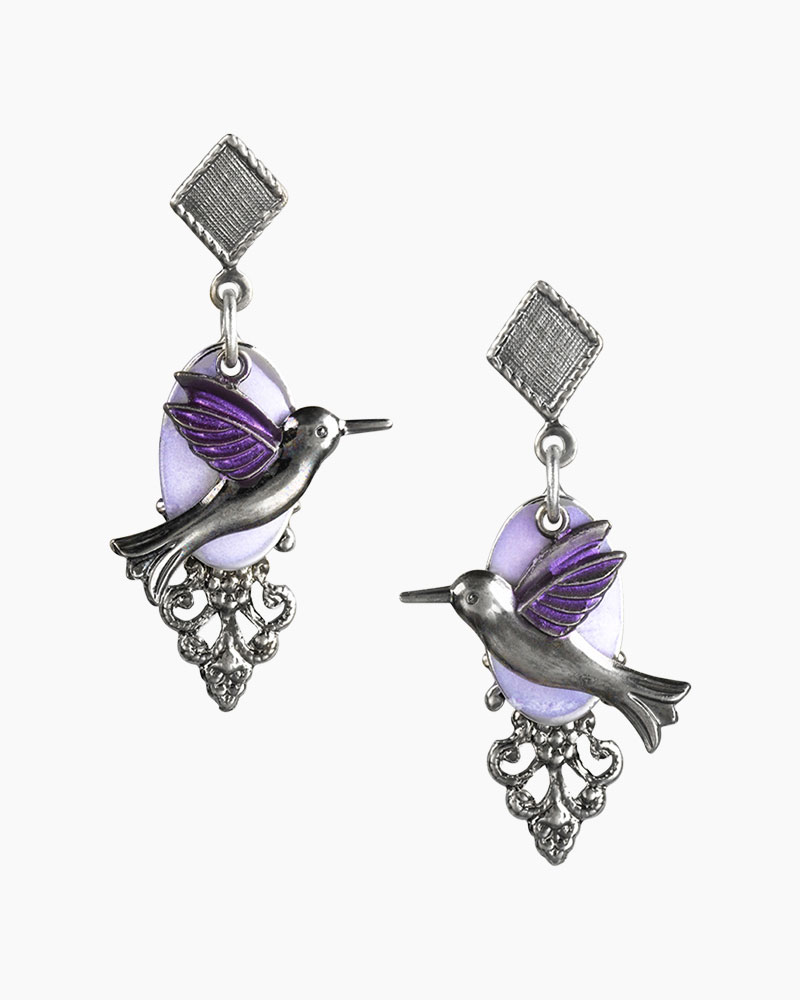 Silver Forest Layered Hummingbird Earrings