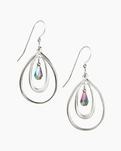 Beaded Silver Oval Earrings