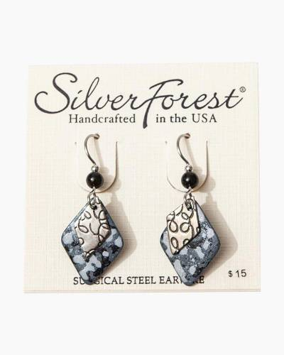 Silver Forest Textured Diamond Drop Earrings
