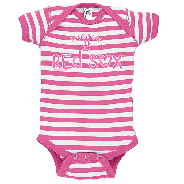 Soft as a Grape Boston Red Sox Raspberry Stripe Baby Romper