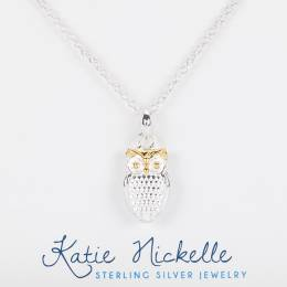 Katie Nickelle Two-Tone Owl Charm Necklace