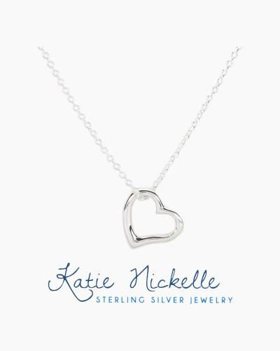 Silver Heart Outline Charm Necklace