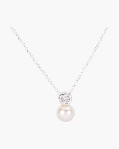 Crystal and Pearl Drop Charm Necklace