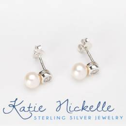 Katie Nickelle Crystal and Pearl Drop Silver Earrings