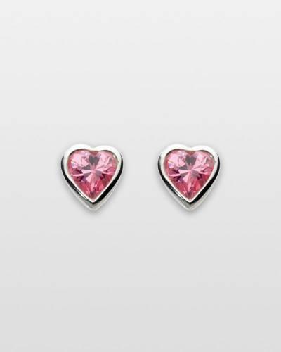 Pink Crystal Hearts Earrings