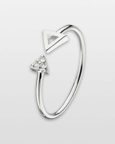 Cubic Zirconia Triangles Ring in Sterling Silver