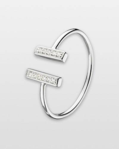 Cubic Zirconia Bars Ring in Sterling Silver