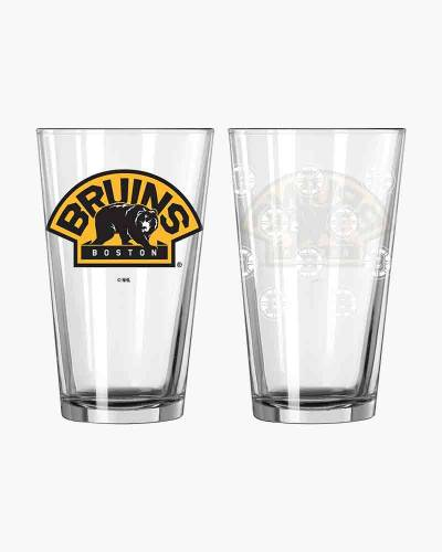 Boston Bruins Satin Etch Pint Glass