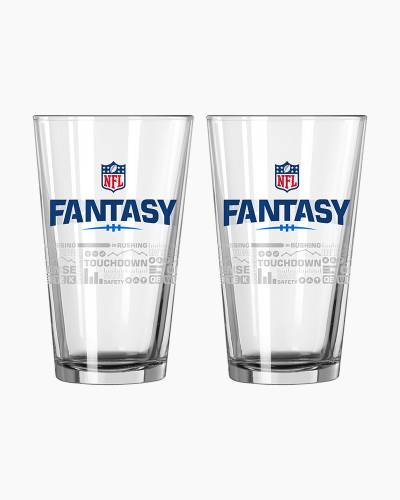 NFL Fantasy Football Satin Etch Pint Glass