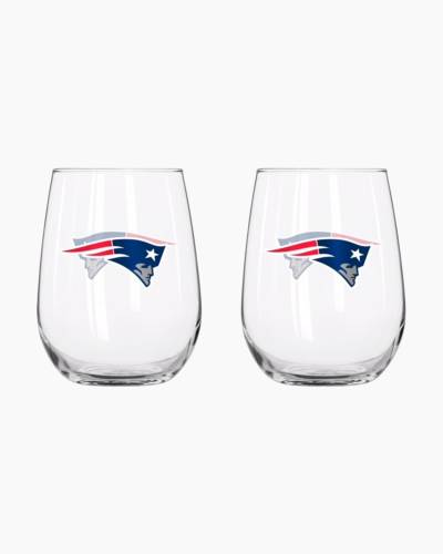 New England Patriots 16 oz. Curved Glass