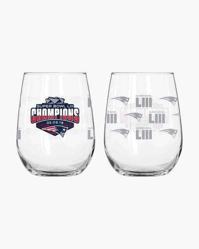 New England Patriots Super Bowl LIII Champions Stemless Wine Glass