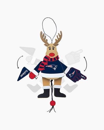 New England Patriots Topperscot the Cheering Reindeer Ornament