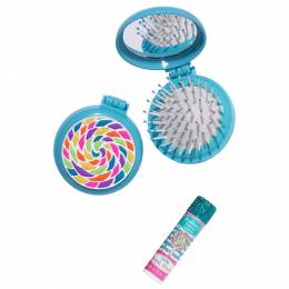 Three Cheers for Girls Lollipop Explosion Folding Brush and Mirror Set with Bonus Lip Balm