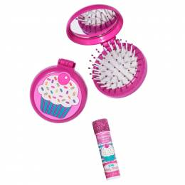 Three Cheers for Girls Cupcake Dreams Folding Brush and Mirror Set with Bonus Lip Balm