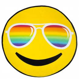 Three Cheers for Girls Rainbow Sunglasses Emoji Beach Blanket