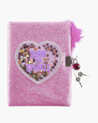 Born to Sparkle Glitter Confetti Locking Journal with Pen