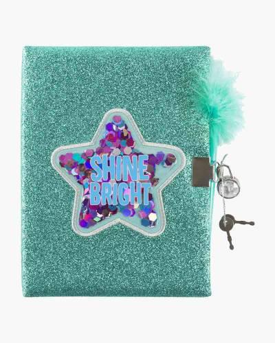 Shine Bright Glitter Confetti Locking Journal with Pen